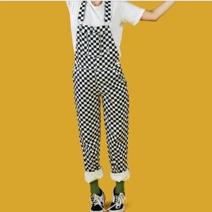 UNIF Women's Medium checkered overalls NWT